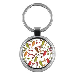 Birds and flowers 3 Key Chains (Round)