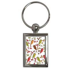 Birds and flowers 3 Key Chains (Rectangle)