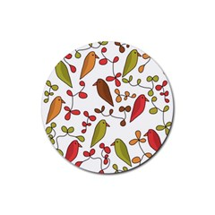 Birds and flowers 3 Rubber Coaster (Round)