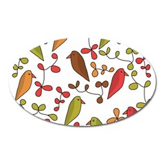 Birds and flowers 3 Oval Magnet