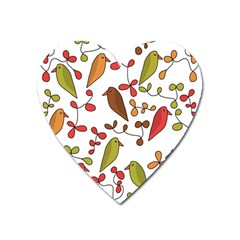 Birds and flowers 3 Heart Magnet