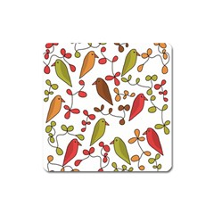 Birds and flowers 3 Square Magnet