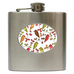 Birds and flowers 3 Hip Flask (6 oz)