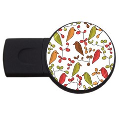 Birds and flowers 3 USB Flash Drive Round (2 GB)