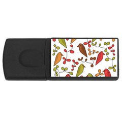Birds and flowers 3 USB Flash Drive Rectangular (1 GB)