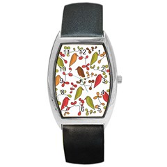 Birds and flowers 3 Barrel Style Metal Watch