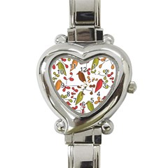 Birds and flowers 3 Heart Italian Charm Watch