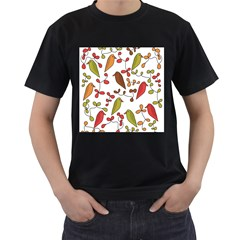 Birds and flowers 3 Men s T-Shirt (Black) (Two Sided)
