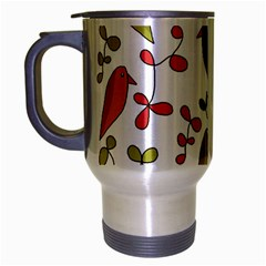 Birds and flowers 3 Travel Mug (Silver Gray)