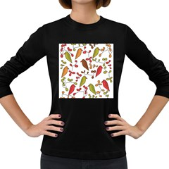 Birds and flowers 3 Women s Long Sleeve Dark T-Shirts