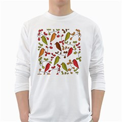 Birds and flowers 3 White Long Sleeve T-Shirts