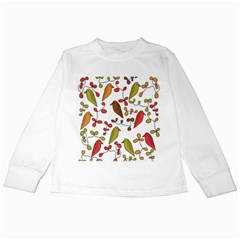 Birds and flowers 3 Kids Long Sleeve T-Shirts