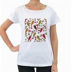 Birds and flowers 3 Women s Loose-Fit T-Shirt (White)