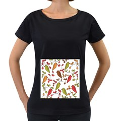 Birds and flowers 3 Women s Loose-Fit T-Shirt (Black)