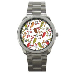 Birds and flowers 3 Sport Metal Watch