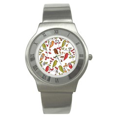 Birds and flowers 3 Stainless Steel Watch
