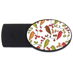 Birds and flowers 3 USB Flash Drive Oval (4 GB)