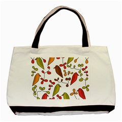 Birds and flowers 3 Basic Tote Bag