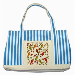 Birds and flowers 3 Striped Blue Tote Bag