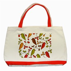 Birds and flowers 3 Classic Tote Bag (Red)