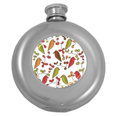 Birds and flowers 3 Round Hip Flask (5 oz)