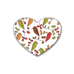 Birds and flowers 3 Heart Coaster (4 pack)