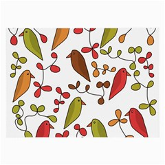 Birds and flowers 3 Large Glasses Cloth (2-Side)