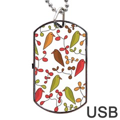 Birds and flowers 3 Dog Tag USB Flash (One Side)