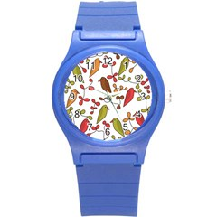 Birds and flowers 3 Round Plastic Sport Watch (S)