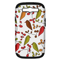 Birds and flowers 3 Samsung Galaxy S III Hardshell Case (PC+Silicone)
