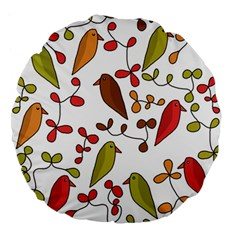 Birds and flowers 3 Large 18  Premium Round Cushions