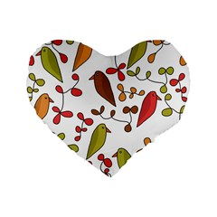Birds and flowers 3 Standard 16  Premium Heart Shape Cushions