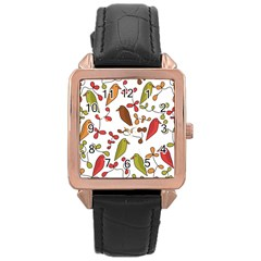 Birds and flowers 3 Rose Gold Leather Watch