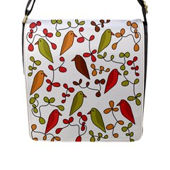 Birds and flowers 3 Flap Messenger Bag (L)