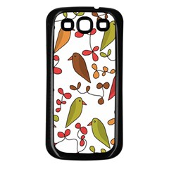 Birds and flowers 3 Samsung Galaxy S3 Back Case (Black)