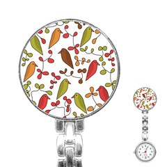 Birds and flowers 3 Stainless Steel Nurses Watch