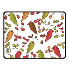 Birds and flowers 3 Double Sided Fleece Blanket (Small)