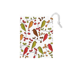 Birds and flowers 3 Drawstring Pouches (Small)