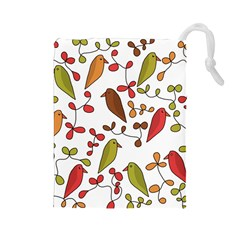 Birds and flowers 3 Drawstring Pouches (Large)