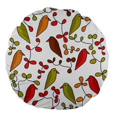 Birds and flowers 3 Large 18  Premium Flano Round Cushions
