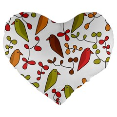 Birds and flowers 3 Large 19  Premium Flano Heart Shape Cushions