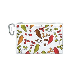 Birds and flowers 3 Canvas Cosmetic Bag (S)