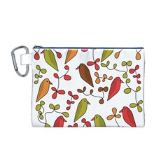 Birds and flowers 3 Canvas Cosmetic Bag (M)