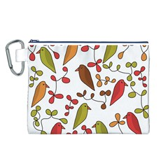 Birds and flowers 3 Canvas Cosmetic Bag (L)