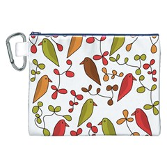 Birds and flowers 3 Canvas Cosmetic Bag (XXL)