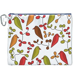 Birds and flowers 3 Canvas Cosmetic Bag (XXXL)