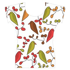 Birds and flowers 3 Women s Cap Sleeve Top