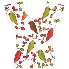 Birds and flowers 3 Women s V-Neck Cap Sleeve Top