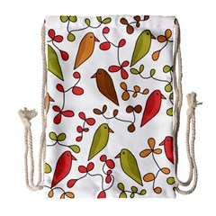 Birds and flowers 3 Drawstring Bag (Large)