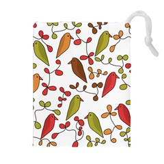 Birds and flowers 3 Drawstring Pouches (Extra Large)